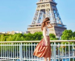 Young woman in Paris on a summer day